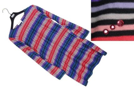 Stripes Casual Style A-line U-Neck Long Sleeves Cotton