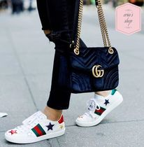 GUCCI Ace Star Round Toe Rubber Sole Casual Style Street Style Leather