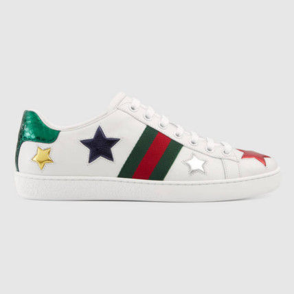 GUCCI Star Round Toe Rubber Sole Casual Style Street Style Leather