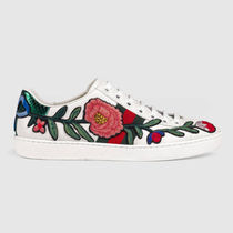 GUCCI Flower Patterns Round Toe Rubber Sole Casual Style Leather