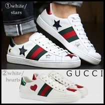 GUCCI Heart Star Rubber Sole Leather Low-Top Sneakers