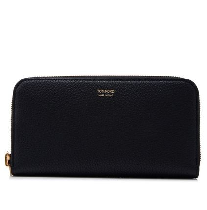 TOM FORD 17SS Gold logo zip long wallet _BLACK