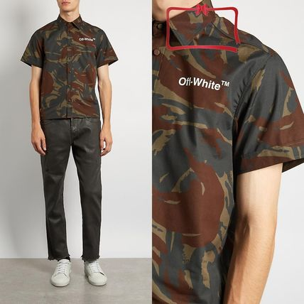 Off-White Camouflage Street Style Cotton Short Sleeves Shirts