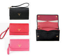 PRADA Saffiano Leather Strap Clutch Bag (Black/Pink/Red)