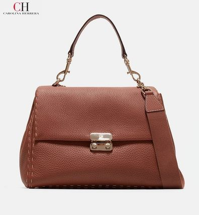 Carolina Herrera Handbags A4 2way Plain Leather Handmade Office Style