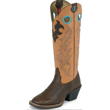 Cowboy Boots Square Toe Leather Mid Heel Boots