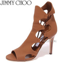 Jimmy Choo Open Toe Lace-up Plain Leather Peep Toe Pumps & Mules