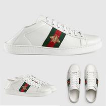 GUCCI Round Toe Rubber Sole Casual Style Plain Leather