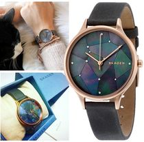 SKAGEN DENMARK Leather Round Quartz Watches Elegant Style Analog Watches
