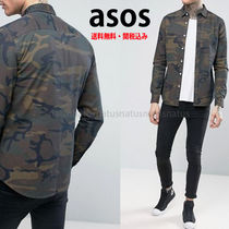 ASOS Camouflage Denim Street Style Long Sleeves Shirts