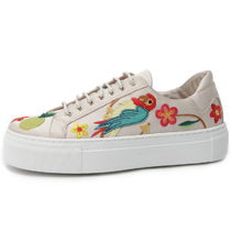 SUECOMMA BONNIE Flower Patterns Platform Moccasin Round Toe Casual Style