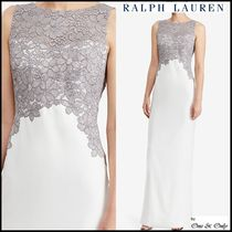 Ralph Lauren Maxi Sleeveless Boat Neck Long Party Dresses