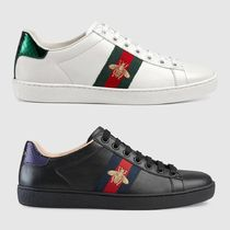 GUCCI Round Toe Rubber Sole Street Style Leather Elegant Style