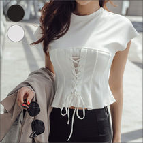 Short Street Style U-Neck Plain Short Sleeves Cropped