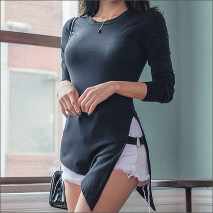 Cropped Short Street Style U-Neck Long Sleeves Plain Cotton Cropped 2