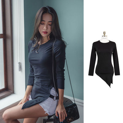 Cropped Short Street Style U-Neck Long Sleeves Plain Cotton Cropped 5