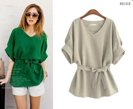 Dolman sleeve V neck loose fitted linen blouse