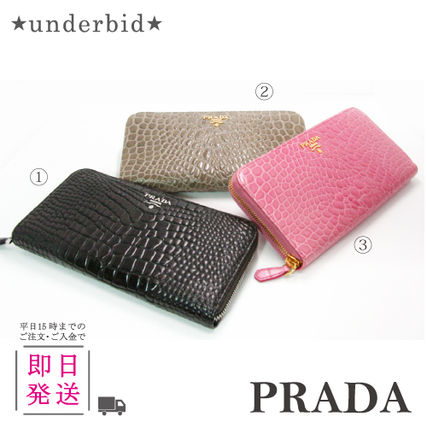 1ML 506 long wallet Croco Embossing leather