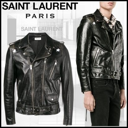 17th SS star pattern Saint Laurent leather riders jacket