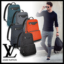 Louis Vuitton Street Style A4 Plain Leather Backpacks