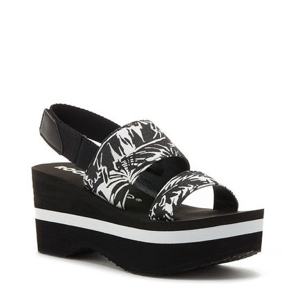 Tropical Patterns Open Toe Platform Casual Style