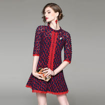 Short Flower Patterns A-line Short Sleeves Lace