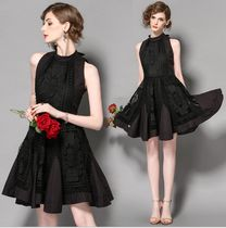 Short A-line Blended Fabrics Sleeveless Lace Party Dresses