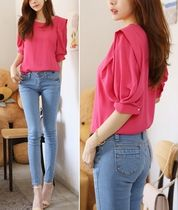 Chiffon Plain Puff Sleeves Shirts & Blouses