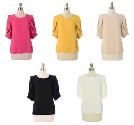 Shirts & Blouses Chiffon Plain Puff Sleeves Shirts & Blouses 6