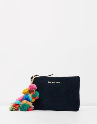 Casual Style Suede Tassel Plain Clutches