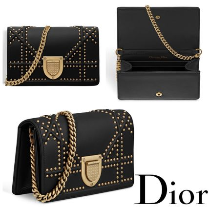 Christian Dior DIORAMA Lambskin 2WAY Chain Plain Party Style Clutches