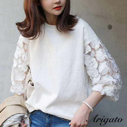Crew Neck Plain Lace Puff Sleeves T-Shirts