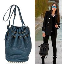 Alexander Wang DIEGO Studded 2WAY Plain Leather Elegant Style Totes