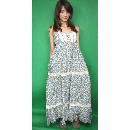 Flower Patterns Flared Cotton Long Dresses