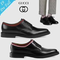 GUCCI Sylvie Plain Toe Plain Leather Oxfords