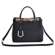 FENDI 2 JOURS Calfskin Studded 2WAY Plain Handbags