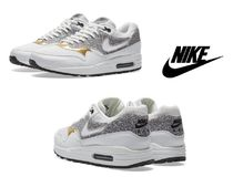 Nike AIR MAX 1 Rubber Sole Casual Style Street Style Plain Leather