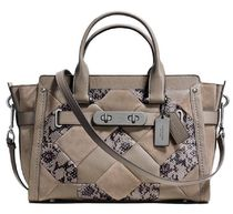 Coach SWAGGER 2WAY Bi-color Leather Python Elegant Style Handbags