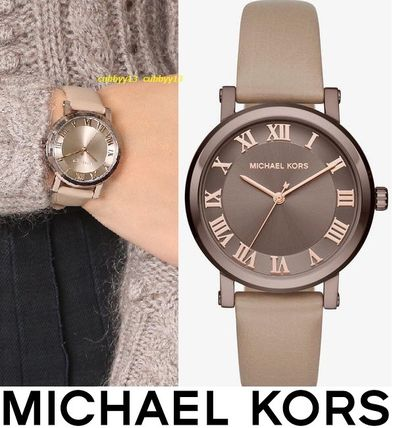 Michael Kors Street Style Leather Round Quartz Watches Office Style