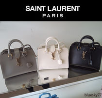 Saint Laurent CABAS 2WAY Plain Leather Elegant Style Handbags