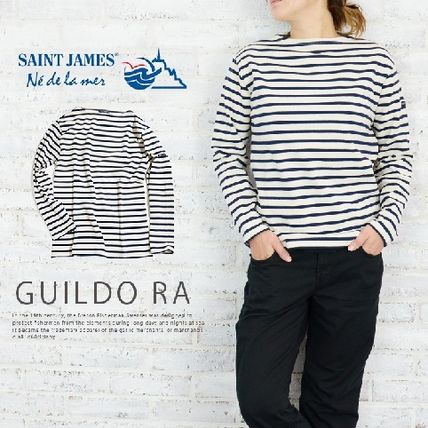 Stripes Boat Neck Long Sleeves Cotton T-Shirts