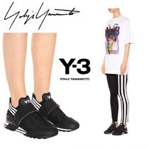 Y-3 Stripes Casual Style Faux Fur Low-Top Sneakers