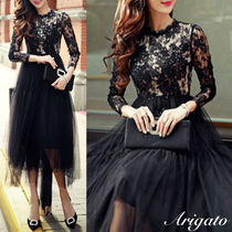 Long Sleeves Medium Lace Party Dresses
