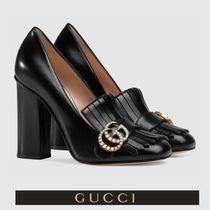 GUCCI Square Toe Casual Style Plain Leather Fringes Chunky Heels