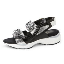 SUECOMMA BONNIE Open Toe Platform Street Style Other Animal Patterns Leather