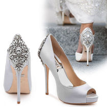 Badgley Mischka Open Toe Pin Heels Party Style With Jewels