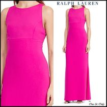 Ralph Lauren A-line Sleeveless Boat Neck Plain Long Party Dresses