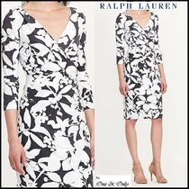 Ralph Lauren Flower Patterns Tight V-Neck Cropped Medium Party Dresses
