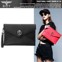 BOY LONDON Casual Style Faux Fur Studded Crystal Clear Bags Clutches