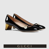 GUCCI Round Toe Casual Style Plain Leather